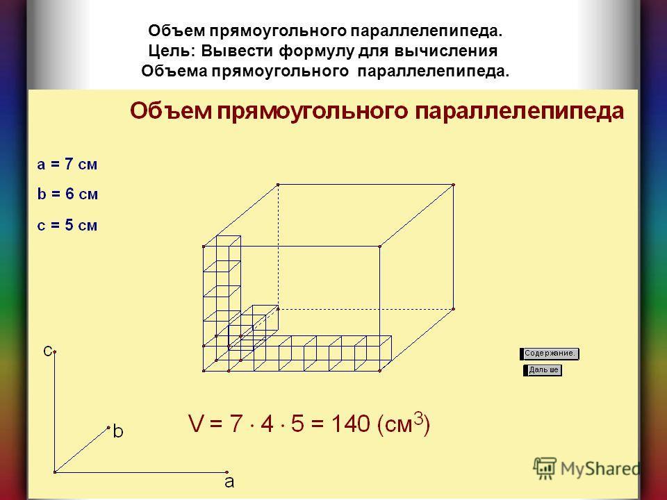 Объем прямоугольного параллелепипеда. Цель: Вывести формулу для вычисления Объема прямоугольного параллелепипеда.