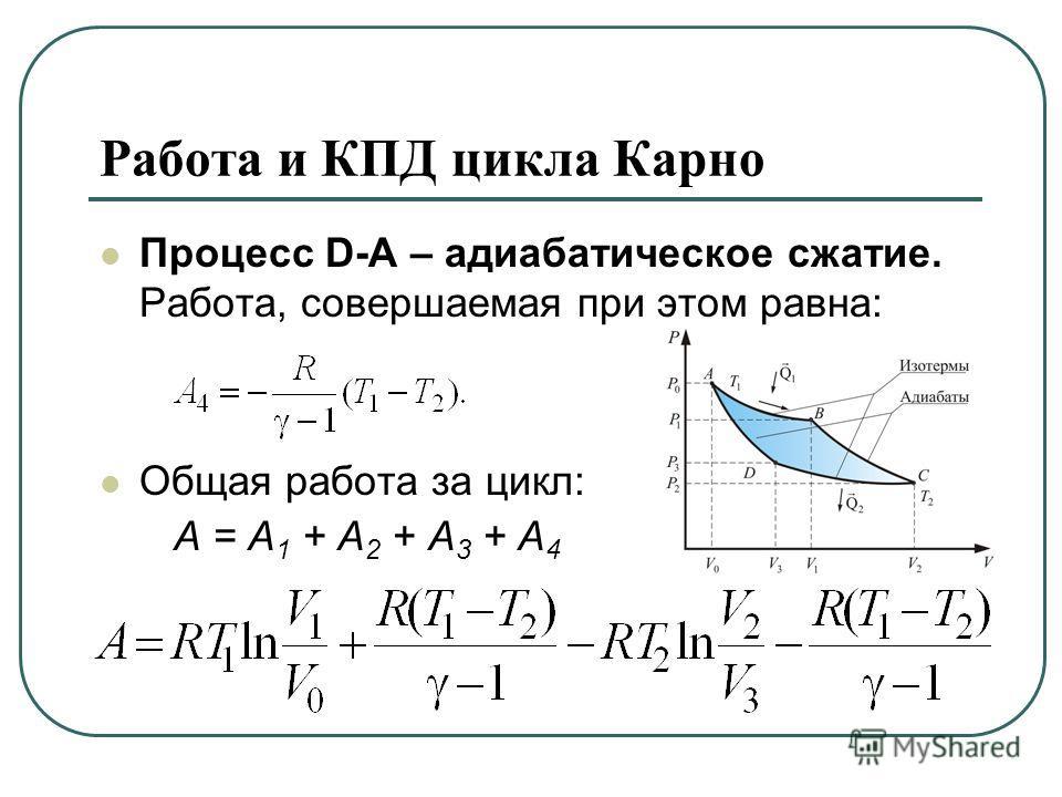 Работа и КПД цикла Карно Процесс D-А – адиабатическое сжатие. Работа, совершаемая при этом равна: Общая работа за цикл: А = А 1 + А 2 + А 3 + А 4