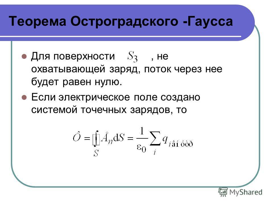 Теорема Остроградского -Гаусса Для поверхности, не охватывающей заряд, поток через нее будет равен нулю. Если электрическое поле создано системой точечных зарядов, то