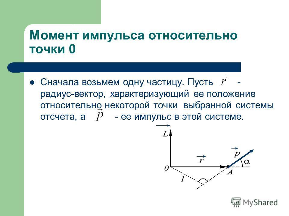 Момент импульса относительно точки 0 Сначала возьмем одну частицу. Пусть - радиус-вектор, характеризующий ее положение относительно некоторой точки выбранной системы отсчета, а - ее импульс в этой системе.