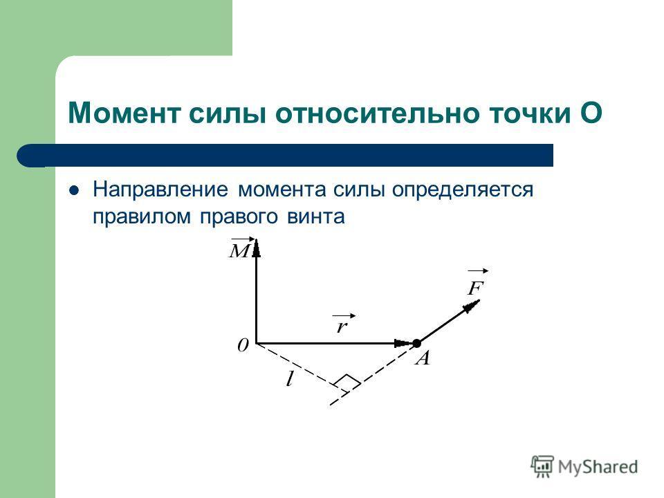 Момент силы относительно точки О Направление момента силы определяется правилом правого винта