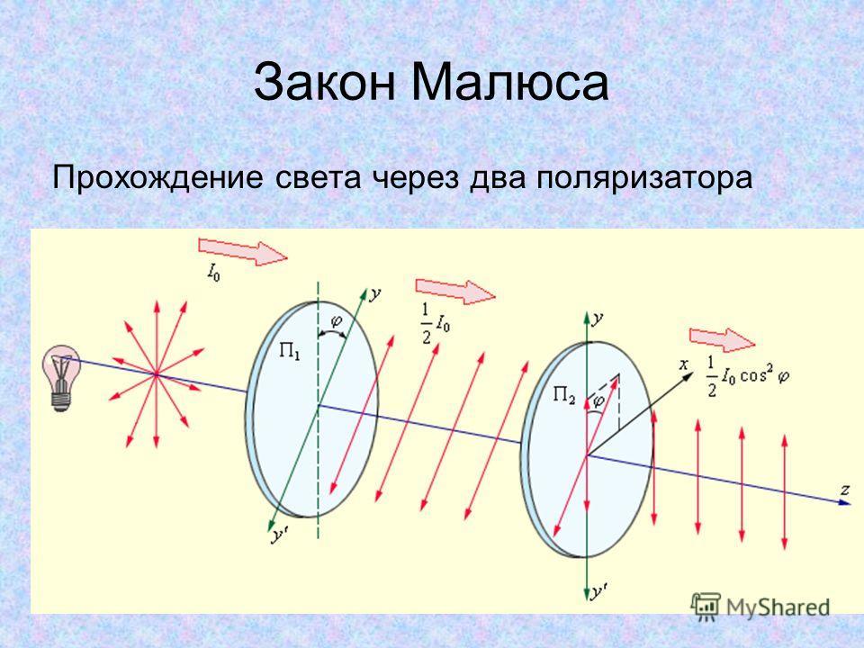 Закон Малюса Прохождение света через два поляризатора