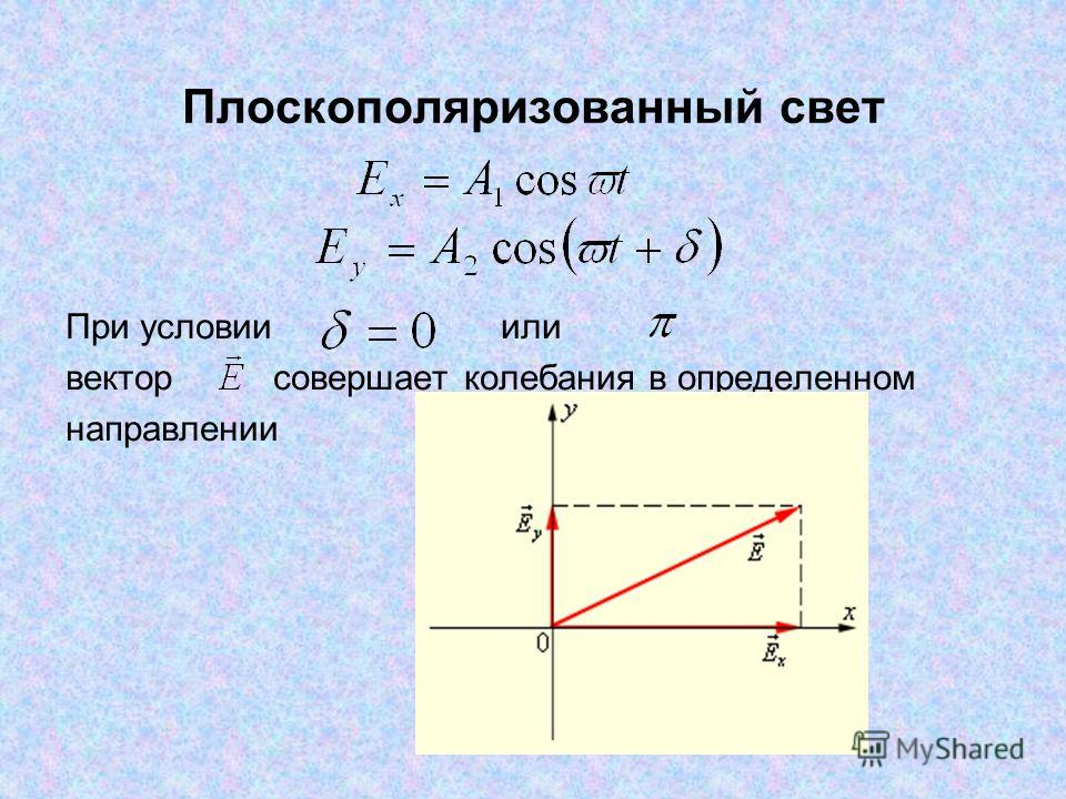 Плоскополяризованный свет При условии или вектор совершает колебания в определенном направлении