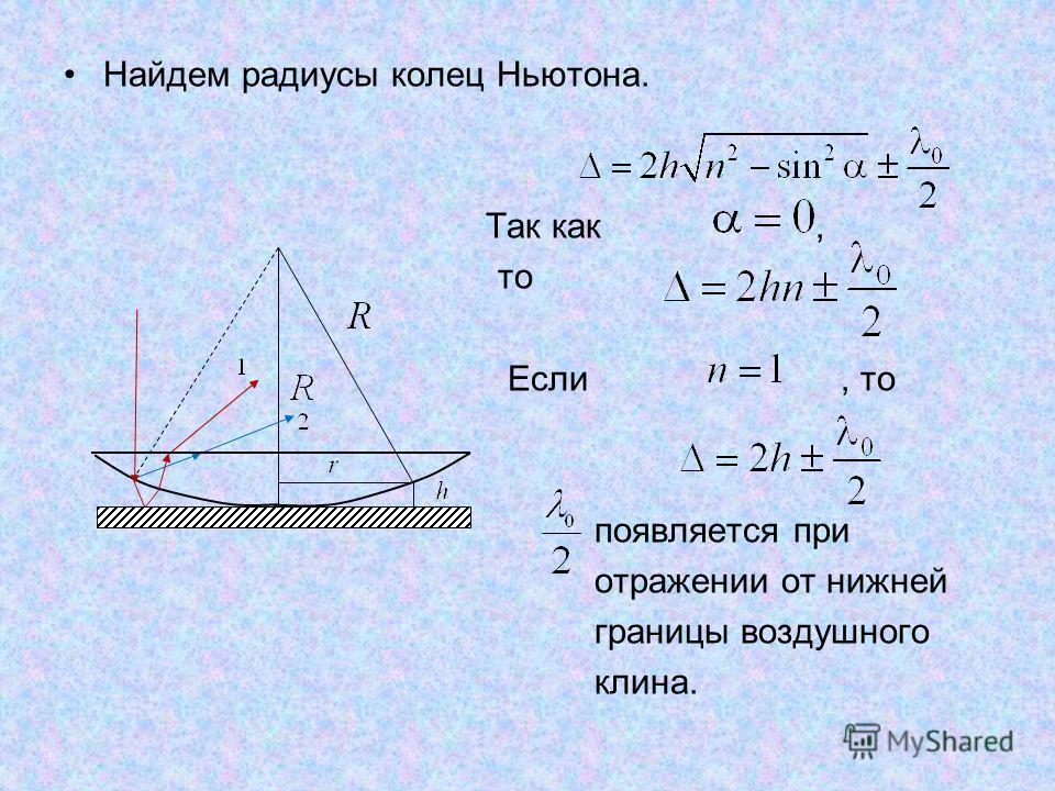 Найдем радиусы колец Ньютона. Так как, то Если, то появляется при отражении от нижней границы воздушного клина.