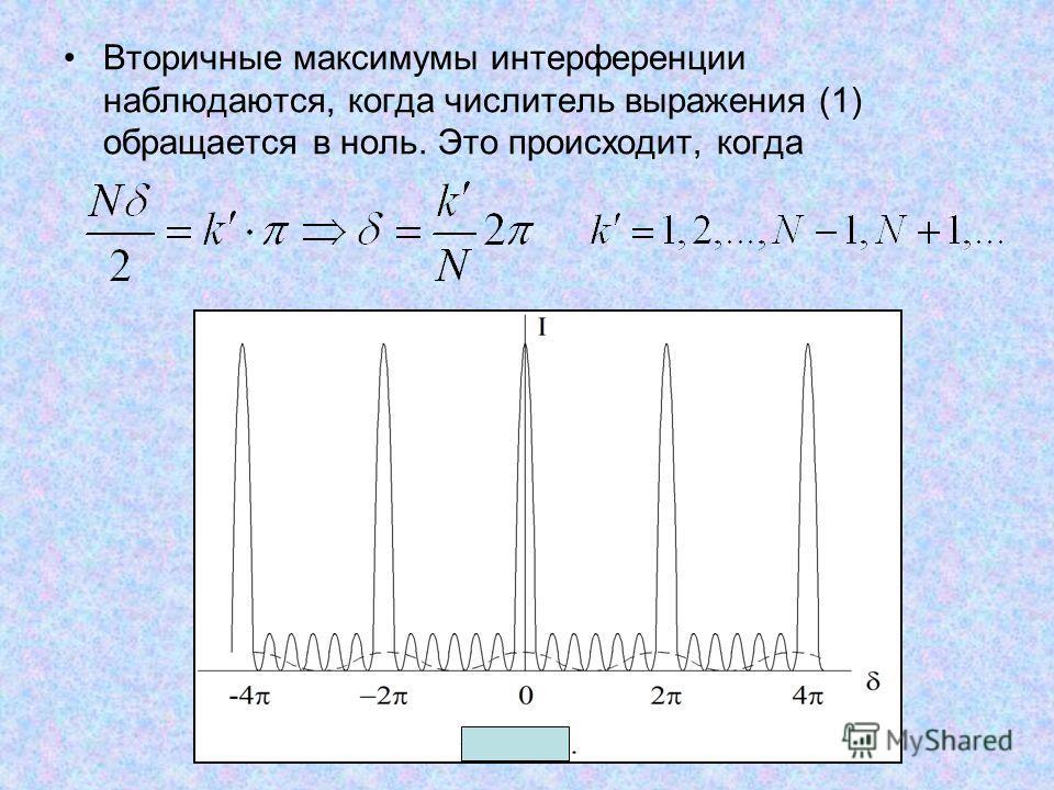 Вторичные максимумы интерференции наблюдаются, когда числитель выражения (1) обращается в ноль. Это происходит, когда