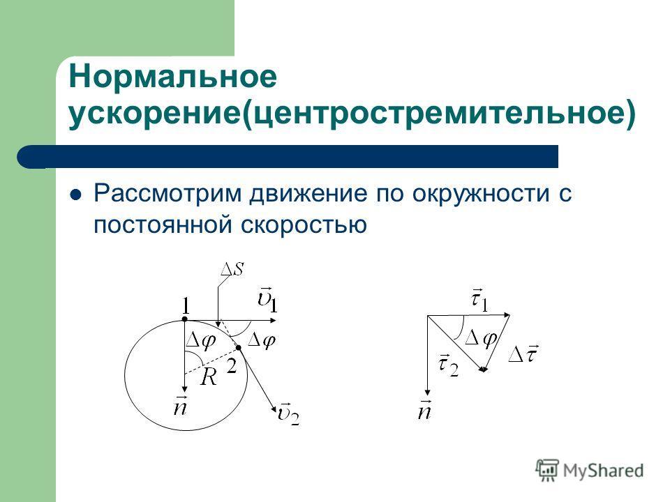 Нормальное ускорение(центростремительное) Рассмотрим движение по окружности с постоянной скоростью