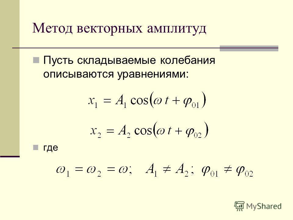 Метод векторных амплитуд Пусть складываемые колебания описываются уравнениями: где