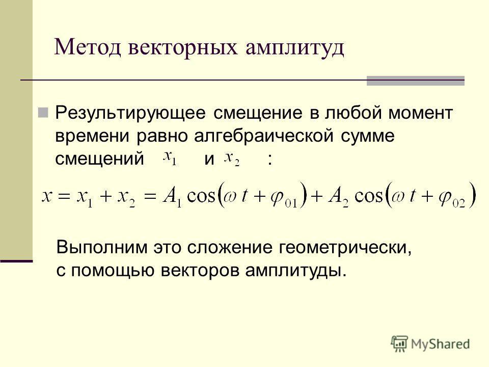 Метод векторных амплитуд Результирующее смещение в любой момент времени равно алгебраической сумме смещений и : Выполним это сложение геометрически, с помощью векторов амплитуды.