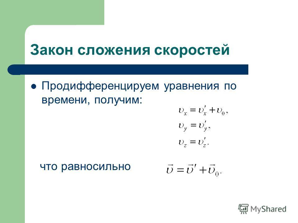 Закон сложения скоростей Продифференцируем уравнения по времени, получим: что равносильно