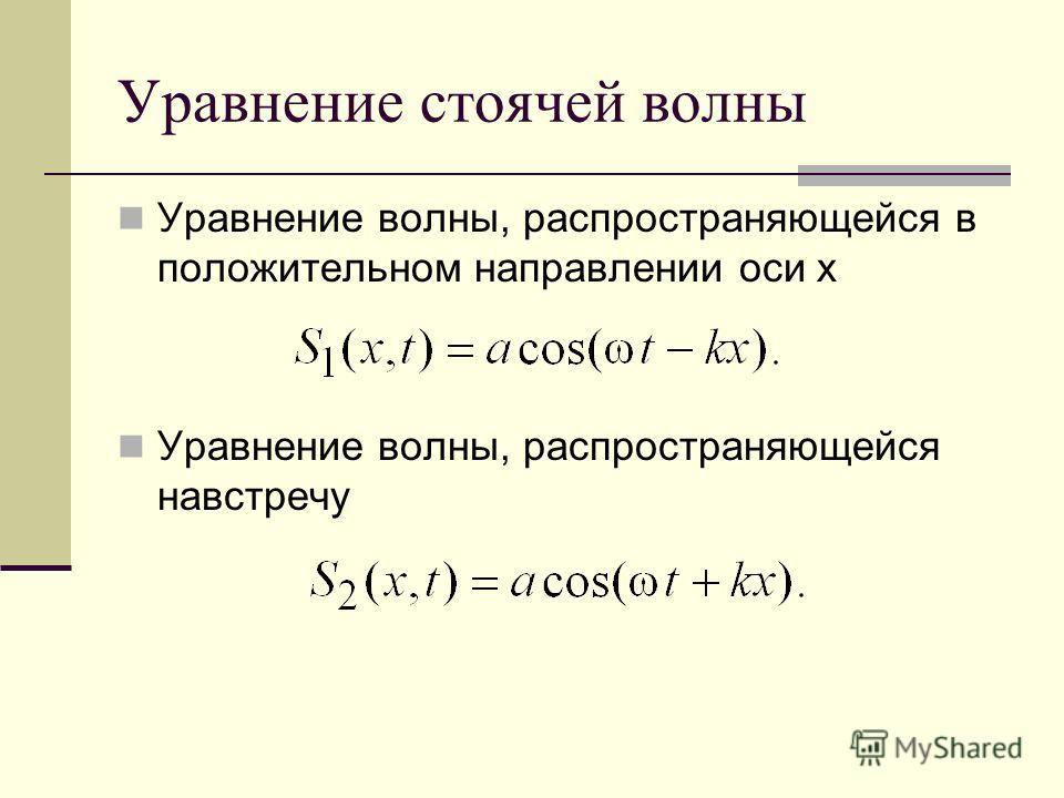 Уравнение стоячей волны Уравнение волны, распространяющейся в положительном направлении оси x Уравнение волны, распространяющейся навстречу