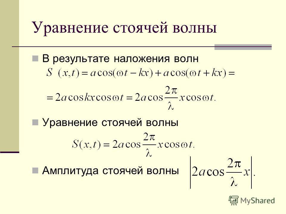 Уравнение стоячей волны В результате наложения волн Уравнение стоячей волны Амплитуда стоячей волны