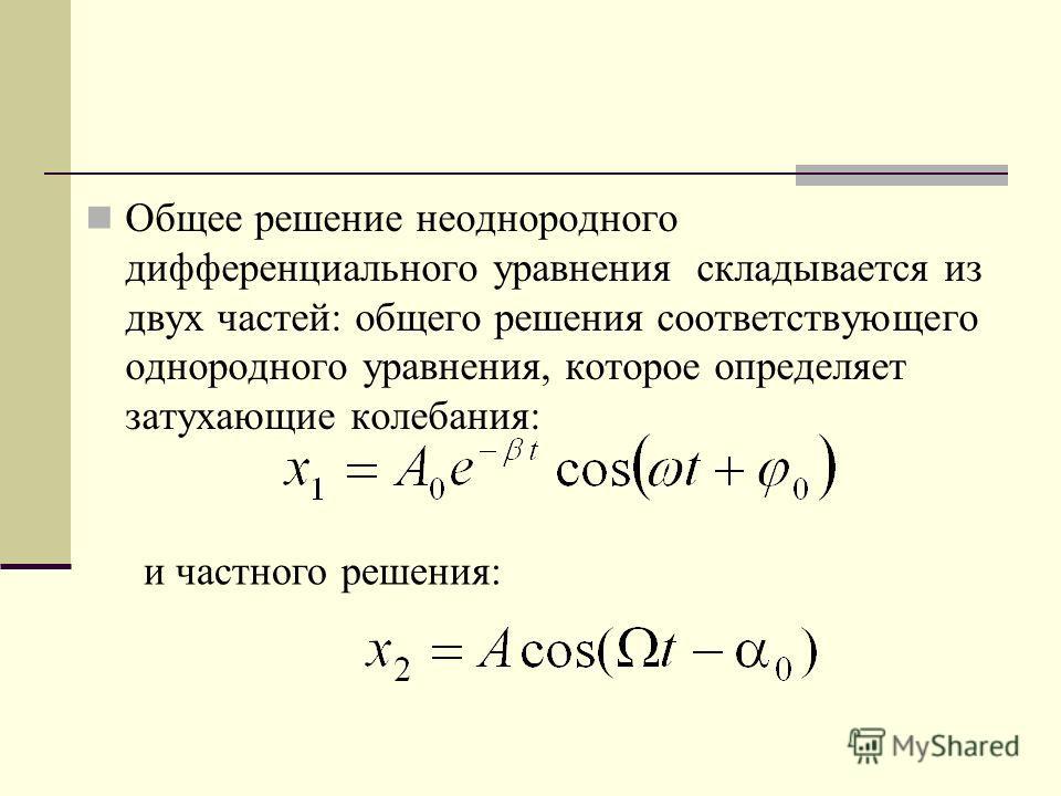 Общее решение неоднородного дифференциального уравнения складывается из двух частей: общего решения соответствующего однородного уравнения, которое определяет затухающие колебания: и частного решения: