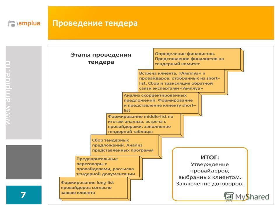 www.amplua.ru 7 Проведение тендера