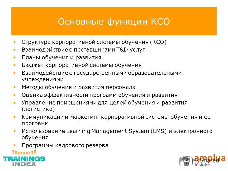 Основные функции КСО Структура корпоративной системы обучения (КСО) Взаимодействие с поставщиками T&D услуг Планы обучения и развития Бюджет корпоративной системы обучения Взаимодействие с государственными образовательными учреждениями Методы обучени