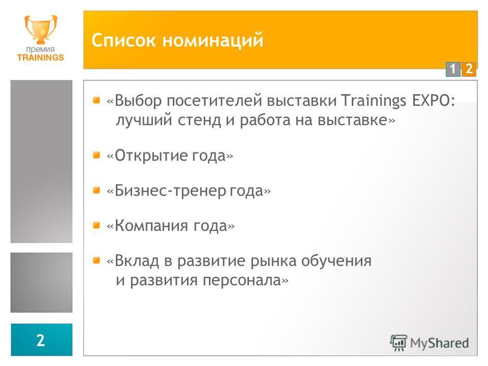 12 2 Список номинаций «Выбор посетителей выставки Trainings EXPO: лучший стенд и работа на выставке» «Открытие года» «Бизнес-тренер года» «Компания года» «Вклад в развитие рынка обучения и развития персонала»