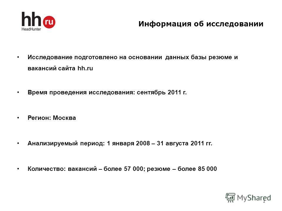 Информация об исследовании Исследование подготовлено на основании данных базы резюме и вакансий сайта hh.ru Время проведения исследования: сентябрь 2011 г. Регион: Москва Анализируемый период: 1 января 2008 – 31 августа 2011 гг. Количество: вакансий