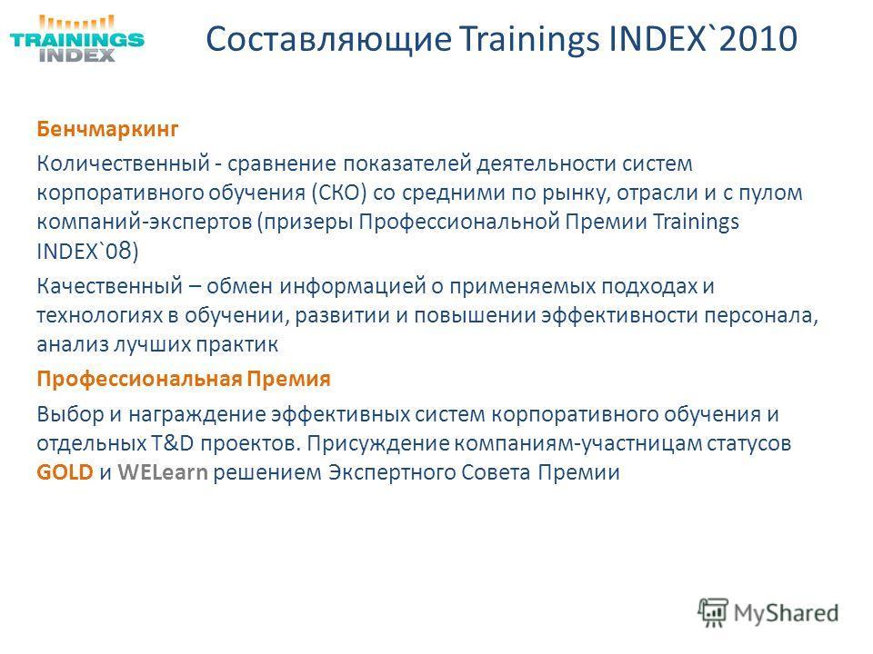Составляющие Trainings INDEX`2010 Бенчмаркинг Количественный - сравнение показателей деятельности систем корпоративного обучения (СКО) со средними по рынку, отрасли и с пулом компаний-экспертов (призеры Профессиональной Премии Trainings INDEX`0 8 ) К