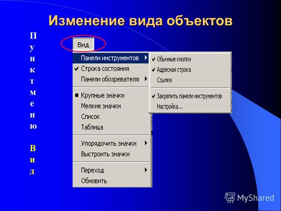 Изменение вида объектов Пунктменю ВидПунктменю Вид