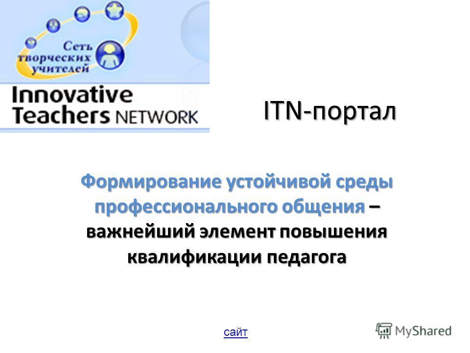 ITN-портал Формирование устойчивой среды профессионального общения – важнейший элемент повышения квалификации педагога сайт