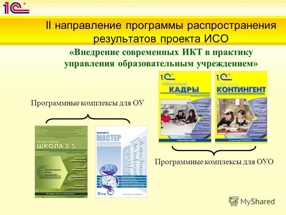 II направление программы распространения результатов проекта ИСО «Внедрение современных ИКТ в практику управления образовательным учреждением» Программные комплексы для ОУ Программные комплексы для ОУО