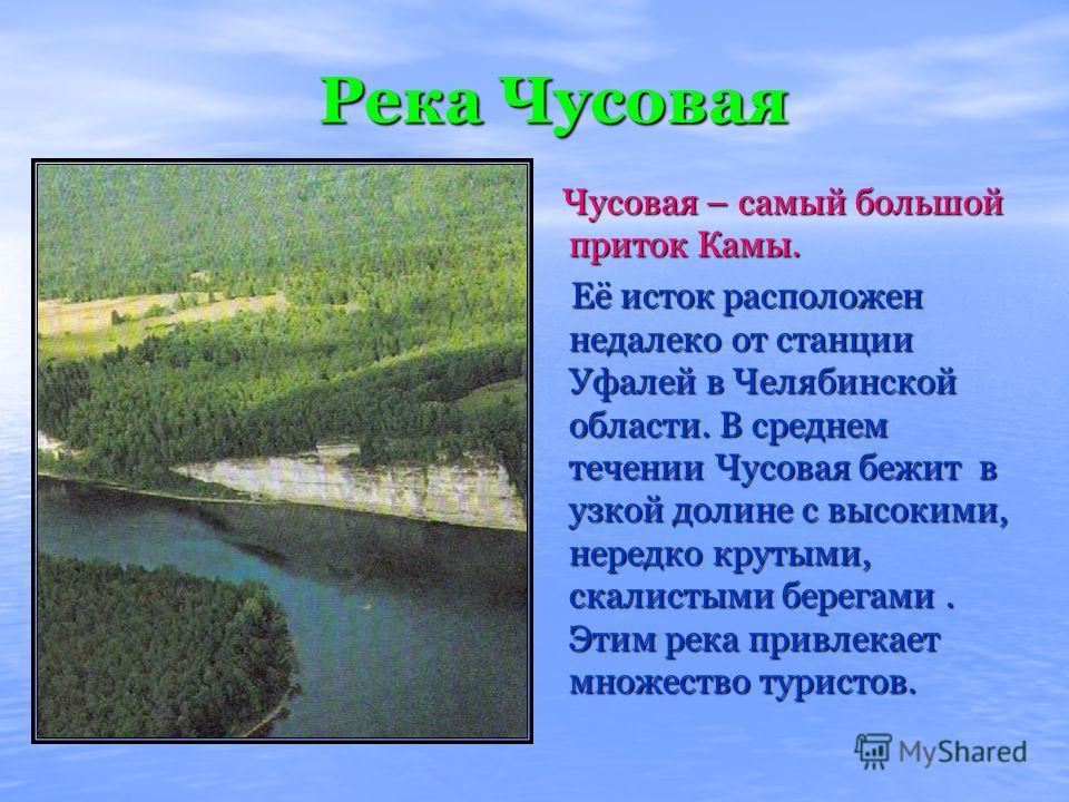 Река Чусовая Чусовая – самый большой приток Камы. Чусовая – самый большой приток Камы. Её исток расположен недалеко от станции Уфалей в Челябинской области. В среднем течении Чусовая бежит в узкой долине с высокими, нередко крутыми, скалистыми берега