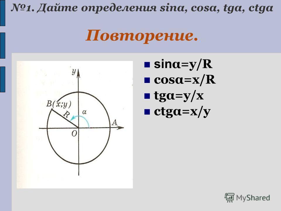 1. Дайте определения sinα, cosα, tgα, ctgα Повторение. sin α=y/R cosα=x/R tgα=y/x ctgα=x/y