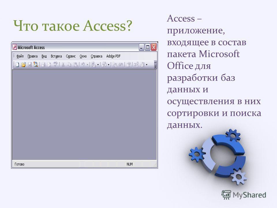 Что такое Access? Access – приложение, входящее в состав пакета Microsoft Office для разработки баз данных и осуществления в них сортировки и поиска данных.