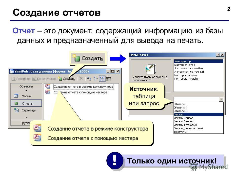 2 Создание отчетов Отчет – это документ, содержащий информацию из базы данных и предназначенный для вывода на печать. Только один источник! ! ! Источник: таблица или запрос