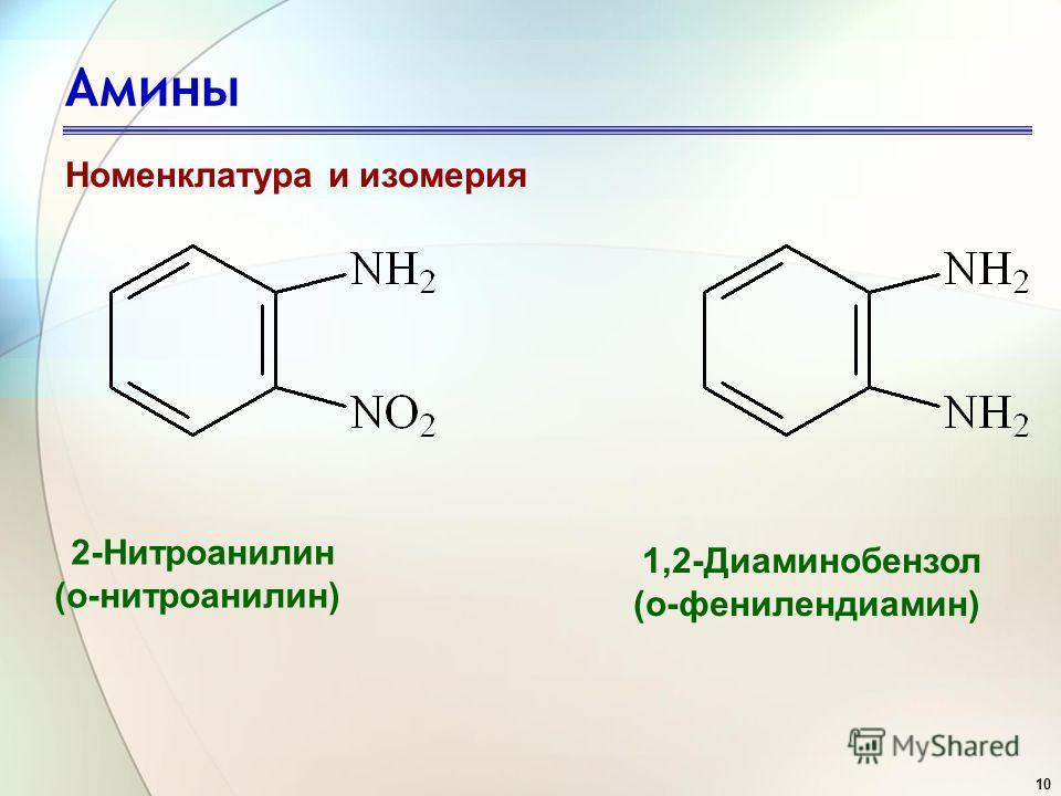 10 Амины Номенклатура и изомерия 2-Нитроанилин (о-нитроанилин) 1,2-Диаминобензол (о-фенилендиамин)