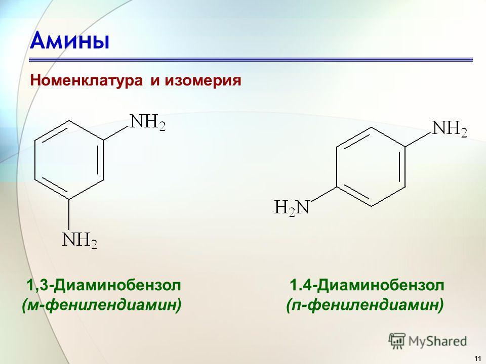 11 Амины Номенклатура и изомерия 1,3-Диаминобензол (м-фенилендиамин) 1.4-Диаминобензол (п-фенилендиамин)