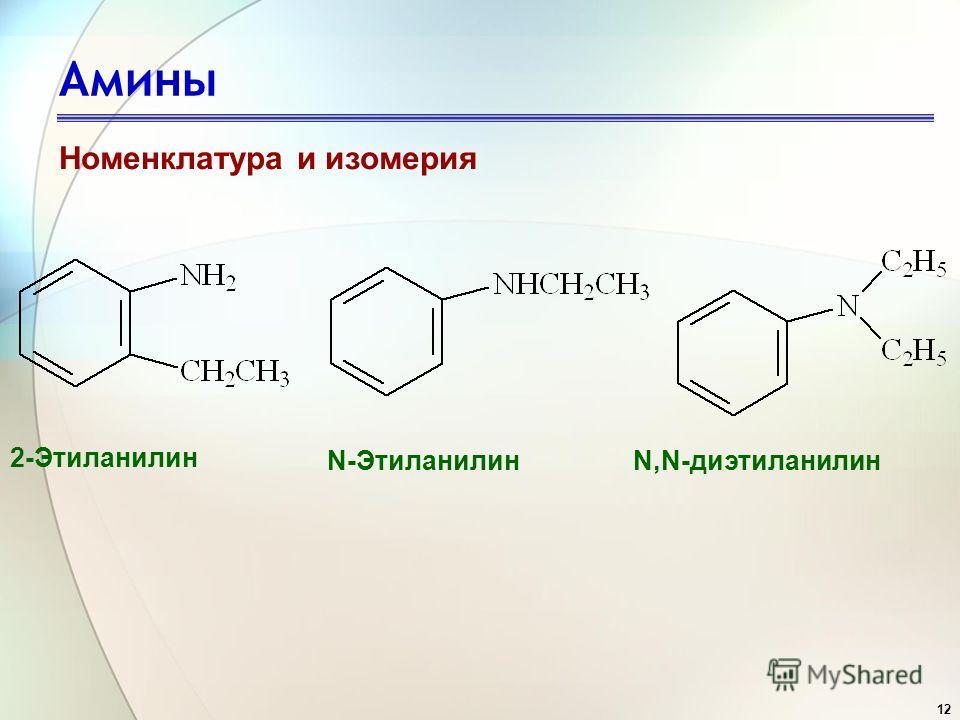 12 Амины Номенклатура и изомерия 2-Этиланилин N-ЭтиланилинN,N-диэтиланилин