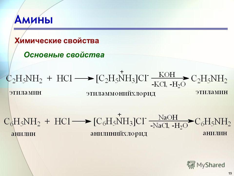 19 Амины Химические свойства Основные свойства