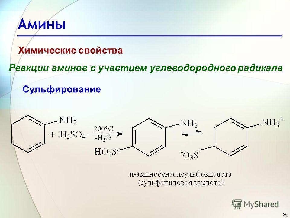 25 Амины Химические свойства Реакции аминов с участием углеводородного радикала Сульфирование