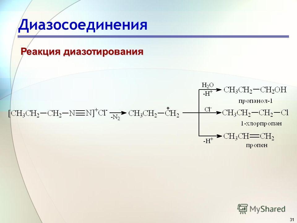 31 Диазосоединения Реакция диазотирования