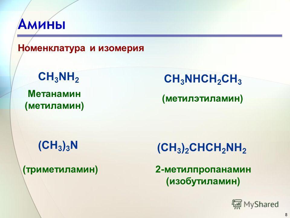 8 Номенклатура и изомерия 2-метилпропанамин (изобутиламин) CH 3 NH 2 CH 3 NHCH 2 CH 3 (CH 3 ) 3 N (CH 3 ) 2 CHCH 2 NH 2 Метанамин (метиламин) (метилэтиламин) (триметиламин)