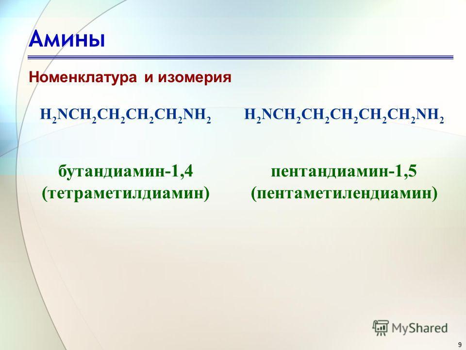 9 Амины Номенклатура и изомерия H 2 NCH 2 CH 2 CH 2 CH 2 NH 2 H 2 NCH 2 CH 2 CH 2 CH 2 CH 2 NH 2 бутандиамин-1,4 (тетраметилдиамин) пентандиамин-1,5 (пентаметилендиамин)