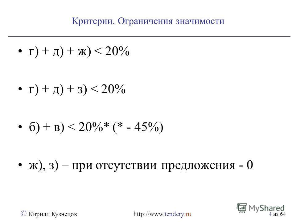 из 64 © Кирилл Кузнецов http://www.tendery.ru 4 Критерии. Ограничения значимости г) + д) + ж) < 20% г) + д) + з) < 20% б) + в) < 20%* (* - 45%) ж), з) – при отсутствии предложения - 0