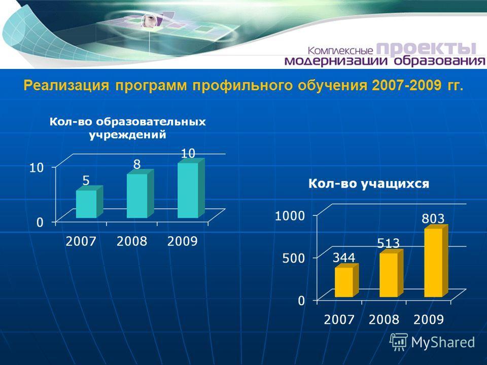 Реализация программ профильного обучения 2007-2009 гг.