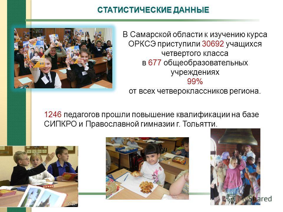 СТАТИСТИЧЕСКИЕ ДАННЫЕ В Самарской области к изучению курса ОРКСЭ приступили 30692 учащихся четвертого класса в 677 общеобразовательных учреждениях 99% от всех четвероклассников региона. 1246 педагогов прошли повышение квалификации на базе СИПКРО и Пр