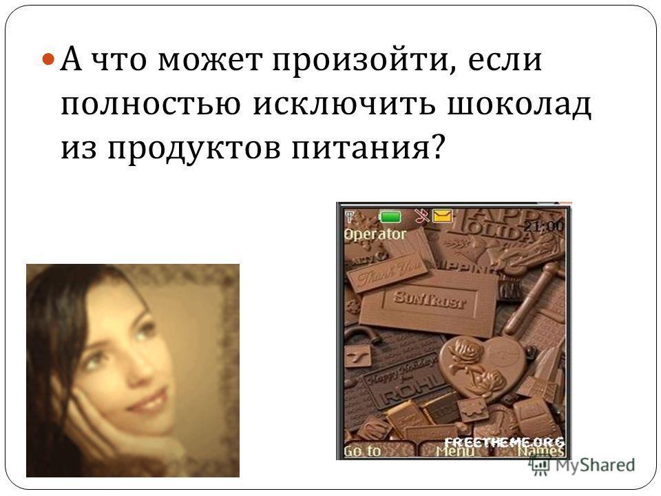 А что может произойти, если полностью исключить шоколад из продуктов питания ?