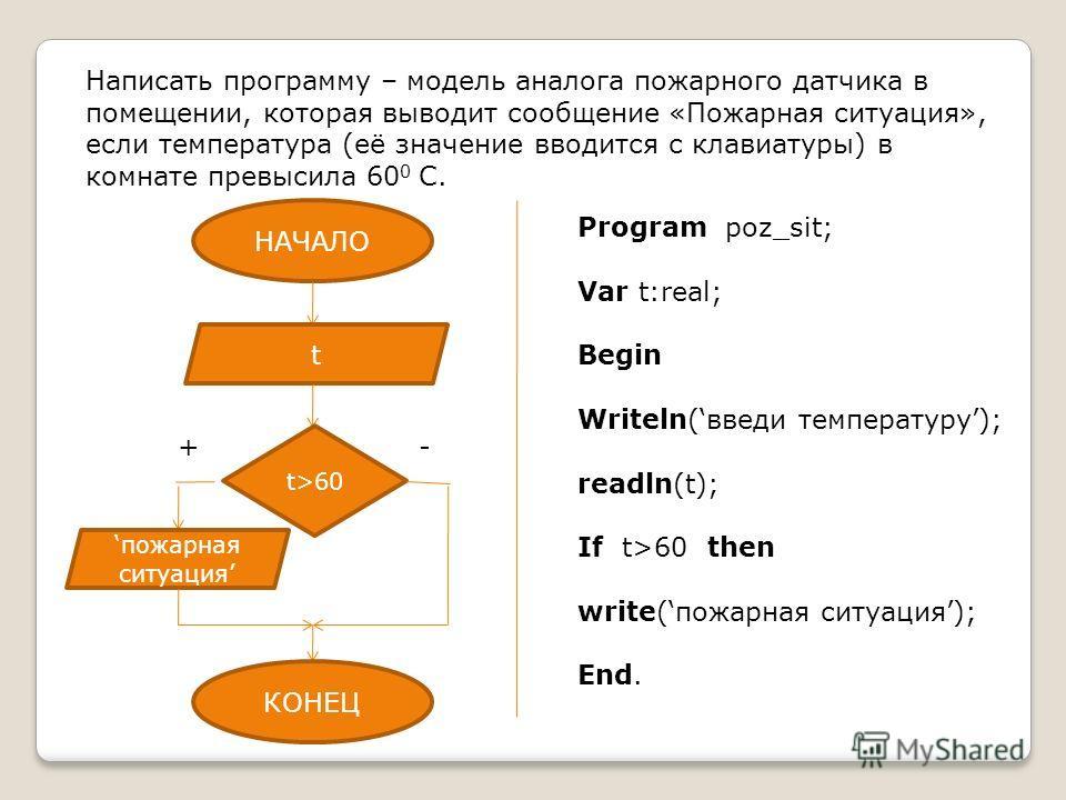 Написать программу – модель аналога пожарного датчика в помещении, которая выводит сообщение «Пожарная ситуация», если температура (её значение вводится с клавиатуры) в комнате превысила 60 0 С. Program poz_sit; Var t:real; Begin Writeln(введи темпер