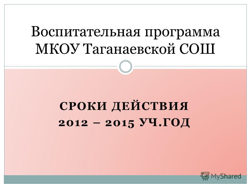 Воспитательная программа МКОУ Таганаевской СОШ СРОКИ ДЕЙСТВИЯ 2012 – 2015 УЧ.ГОД