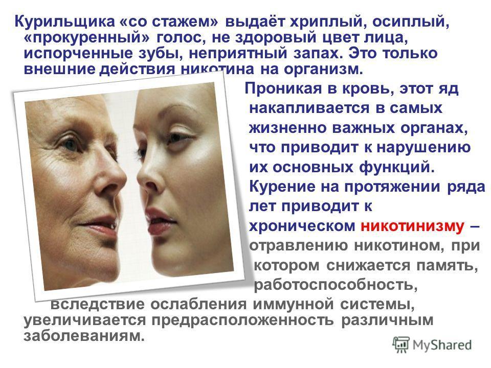 Курильщика «со стажем» выдаёт хриплый, осиплый, «прокуренный» голос, не здоровый цвет лица, испорченные зубы, неприятный запах. Это только внешние действия никотина на организм. Проникая в кровь, этот яд накапливается в самых жизненно важных органах,