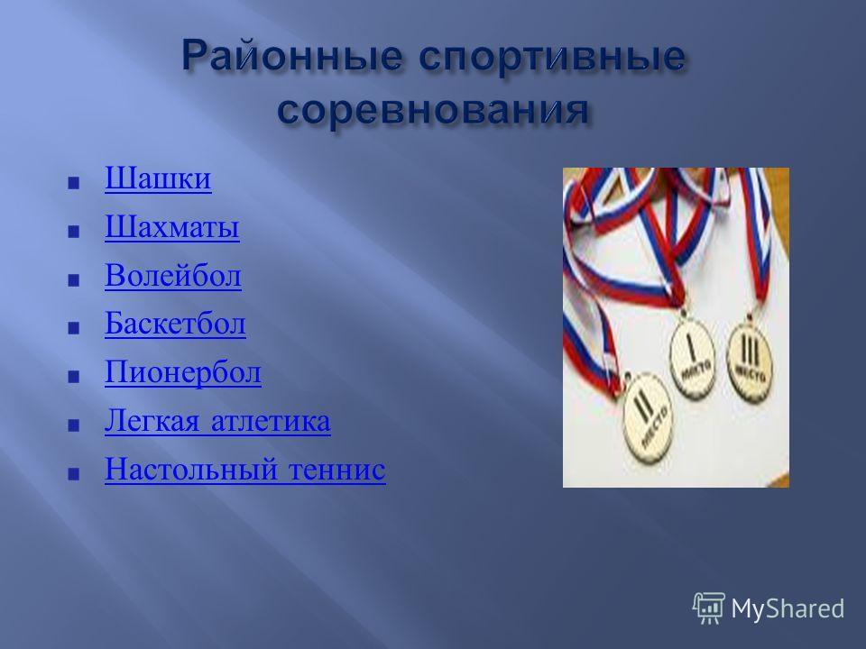 Шашки Шахматы Волейбол Баскетбол Пионербол Легкая атлетика Настольный теннис