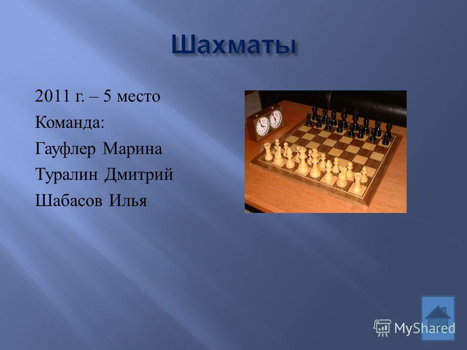 2011 г. – 5 место Команда : Гауфлер Марина Туралин Дмитрий Шабасов Илья