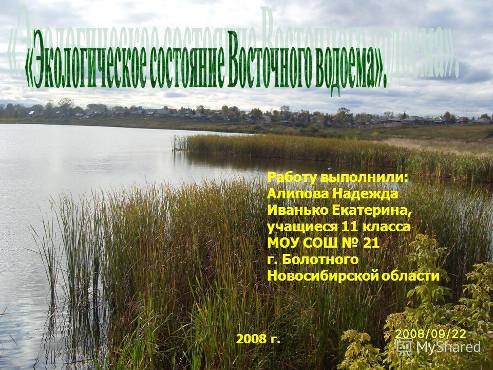 Работу выполнили: Алипова Надежда Иванько Екатерина, учащиеся 11 класса МОУ СОШ 21 г. Болотного Новосибирской области 2008 г.