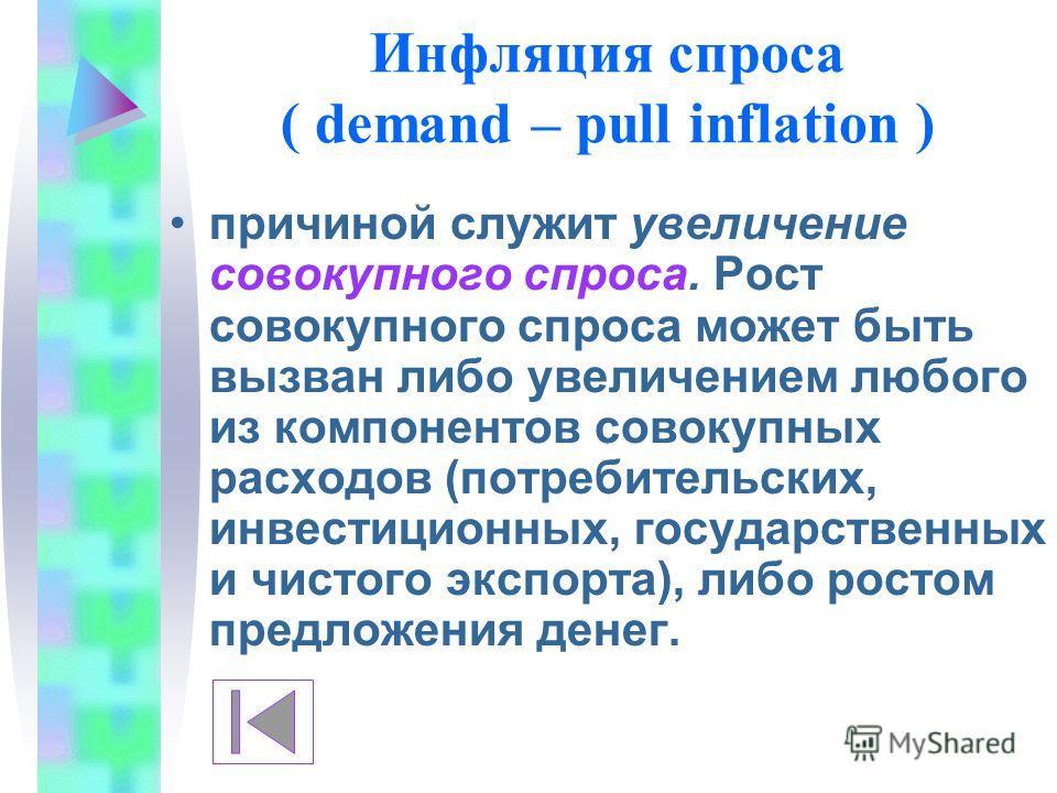 Инфляция спроса ( demand – pull inflation ) причиной служит увеличение совокупного спроса. Рост совокупного спроса может быть вызван либо увеличением любого из компонентов совокупных расходов (потребительских, инвестиционных, государственных и чистог
