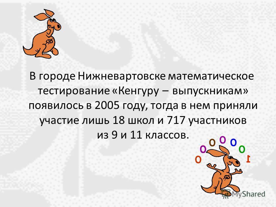 В городе Нижневартовске математическое тестирование «Кенгуру – выпускникам» появилось в 2005 году, тогда в нем приняли участие лишь 18 школ и 717 участников из 9 и 11 классов.