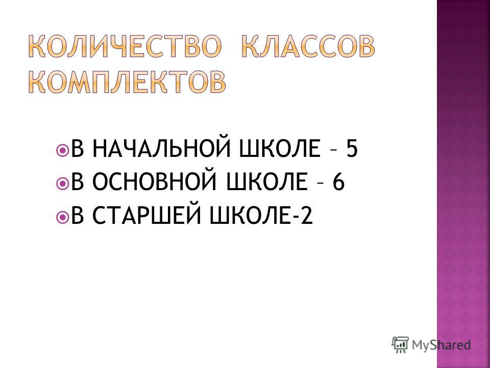 В НАЧАЛЬНОЙ ШКОЛЕ – 5 В ОСНОВНОЙ ШКОЛЕ – 6 В СТАРШЕЙ ШКОЛЕ-2