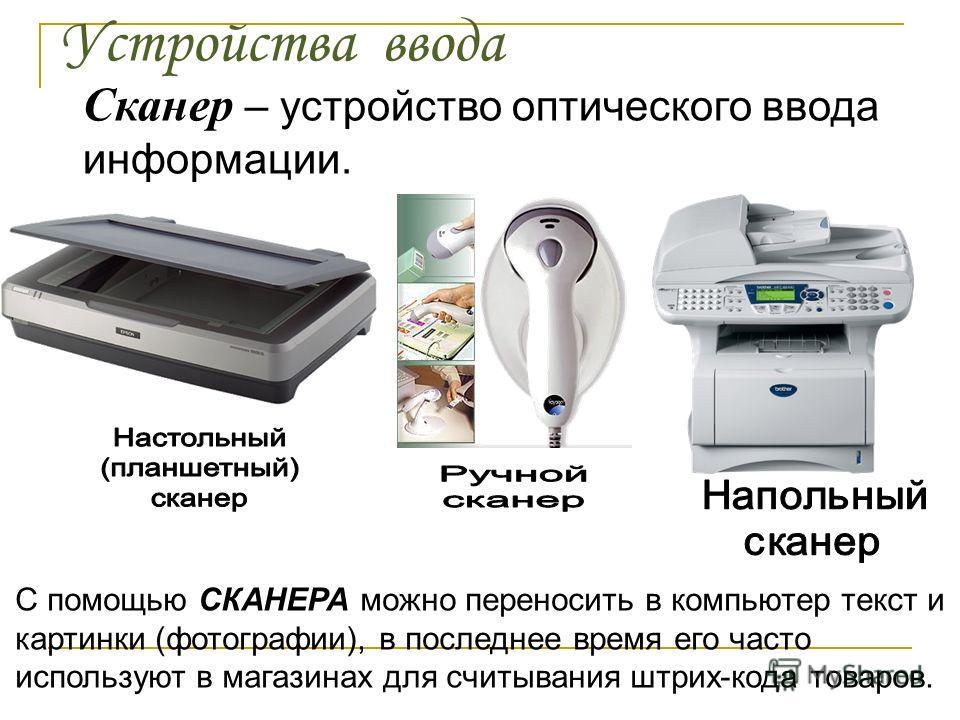 Устройства ввода Сканер – устройство оптического ввода информации. С помощью СКАНЕРА можно переносить в компьютер текст и картинки (фотографии), в последнее время его часто используют в магазинах для считывания штрих-кода товаров.